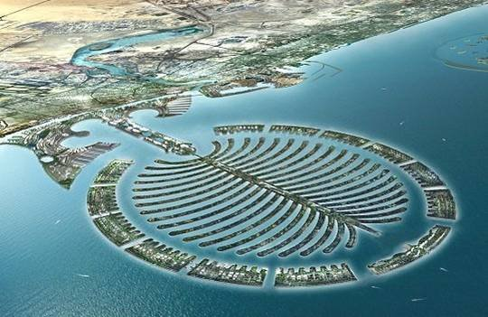 The Palm Islands in Dubai. New Dutch dredging technology was used to create these massive man made islands. They are the largest artificial islands in the world and can be seen from space. Three of these Palms will be made with the last one being the largest of them all.