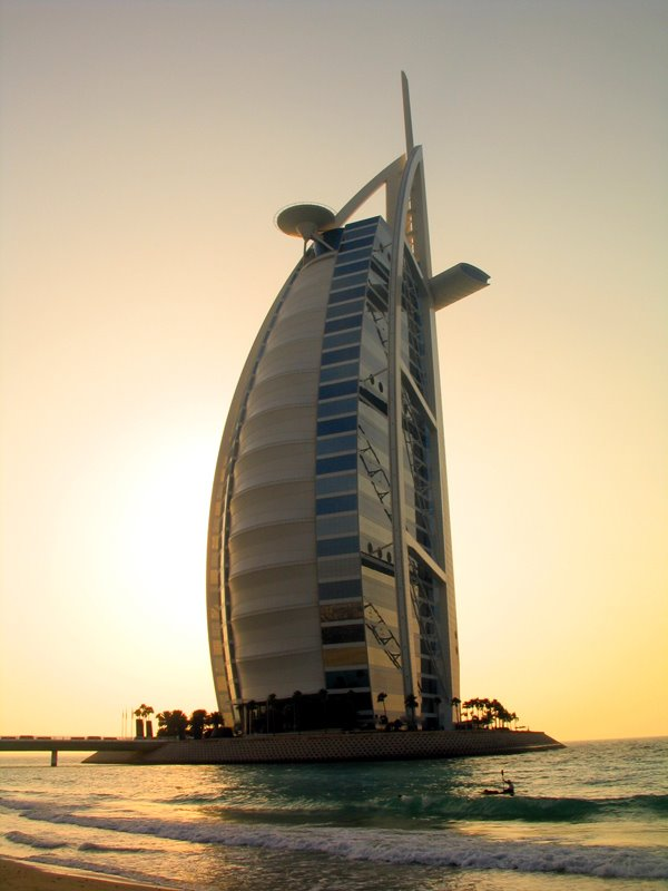 The Burj al-Arab hotel in Dubai . The worlds tallest hotel. Considered the only '7 star' hotel and the most luxurious hotel in the world. It stands on an artificial island in the sea.