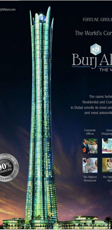 The Burj al Alam, or The World Tower. Upon completion it will rank as the world's highest hotel. It is expected to be finished by 2009. At 480 meters it will only be 28 meters shorter than theTaipei 101.