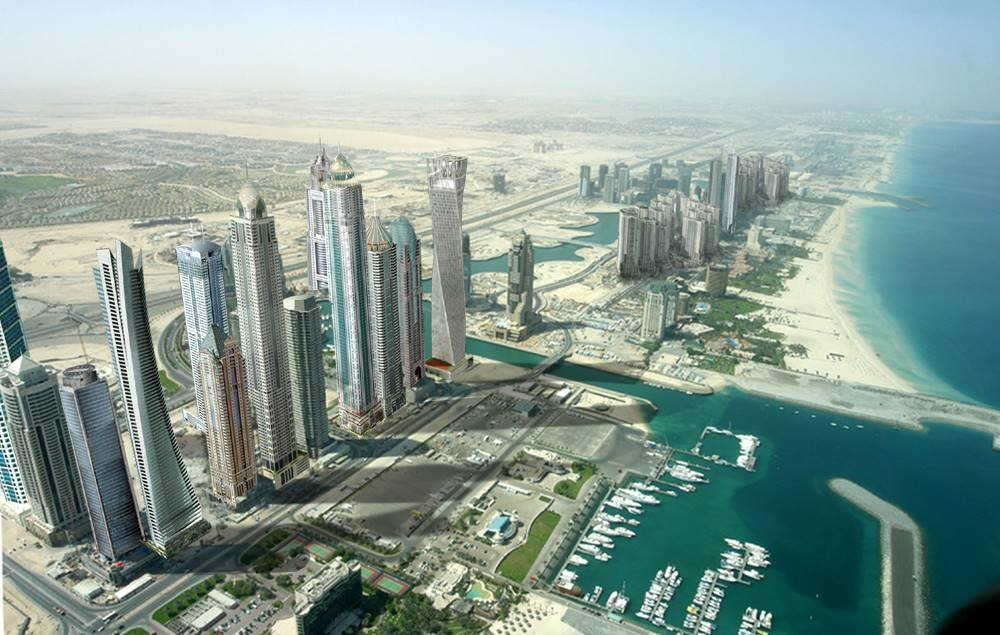 Some of the tallest buildings in the world, such as Ocean Heights and The Princess Tower , which will be the largest residential building in the world at over a 100 stories, will line the DubaiMarina.