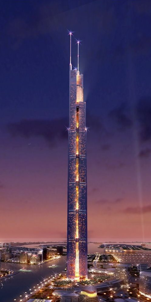 This is what downtown Dubai will look like around 2008-2009. More than 140 stories of the Burj Dubai have already been completed. It is already the worlds tallest man made structure and it is still not scheduled to be completed for at least another year.