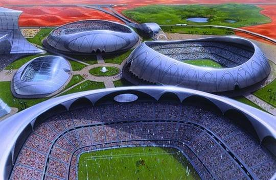 Dubai Sports City.  A huge collection of sports arenas located in Dubailand.