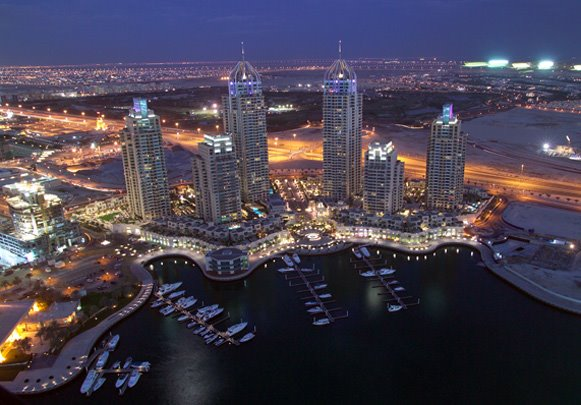The Dubai Marina is an entirely man made development that will contain over 200 highrise buildings when finished. It will be home to some of the tallest residential structures in the world. The completed first phase of the project is shown. Most of the other high rise buildings will be finished by 2009-2010.