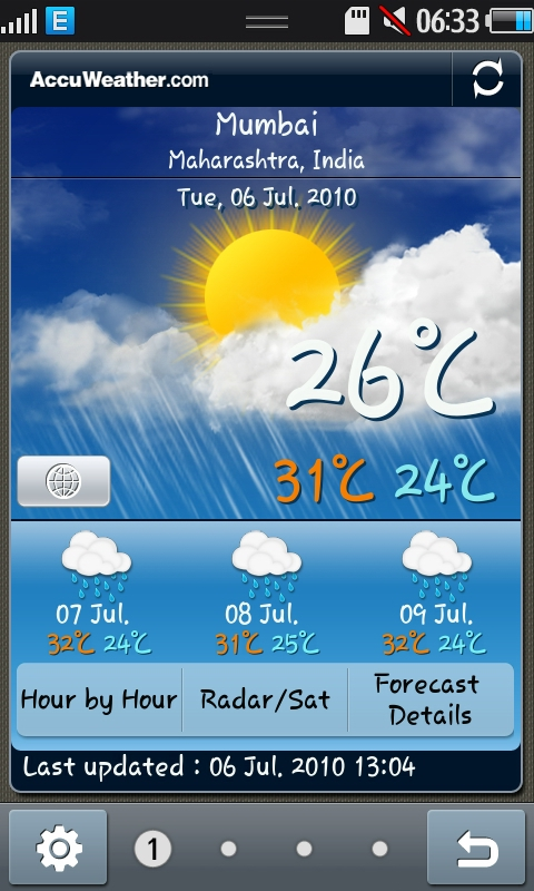 Weather Tab on Daily Briefing on Samsung Wave