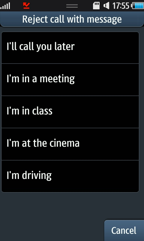 the I'm Busy message options on the Samsung Wave S8500