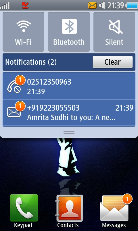 Samsung wave android like notifications